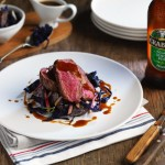 Main; Duo of Venison Loin on thyme & hawthorn jelly served with Original Crabbie's, warm red cabbage black pudding & ginger apple salad